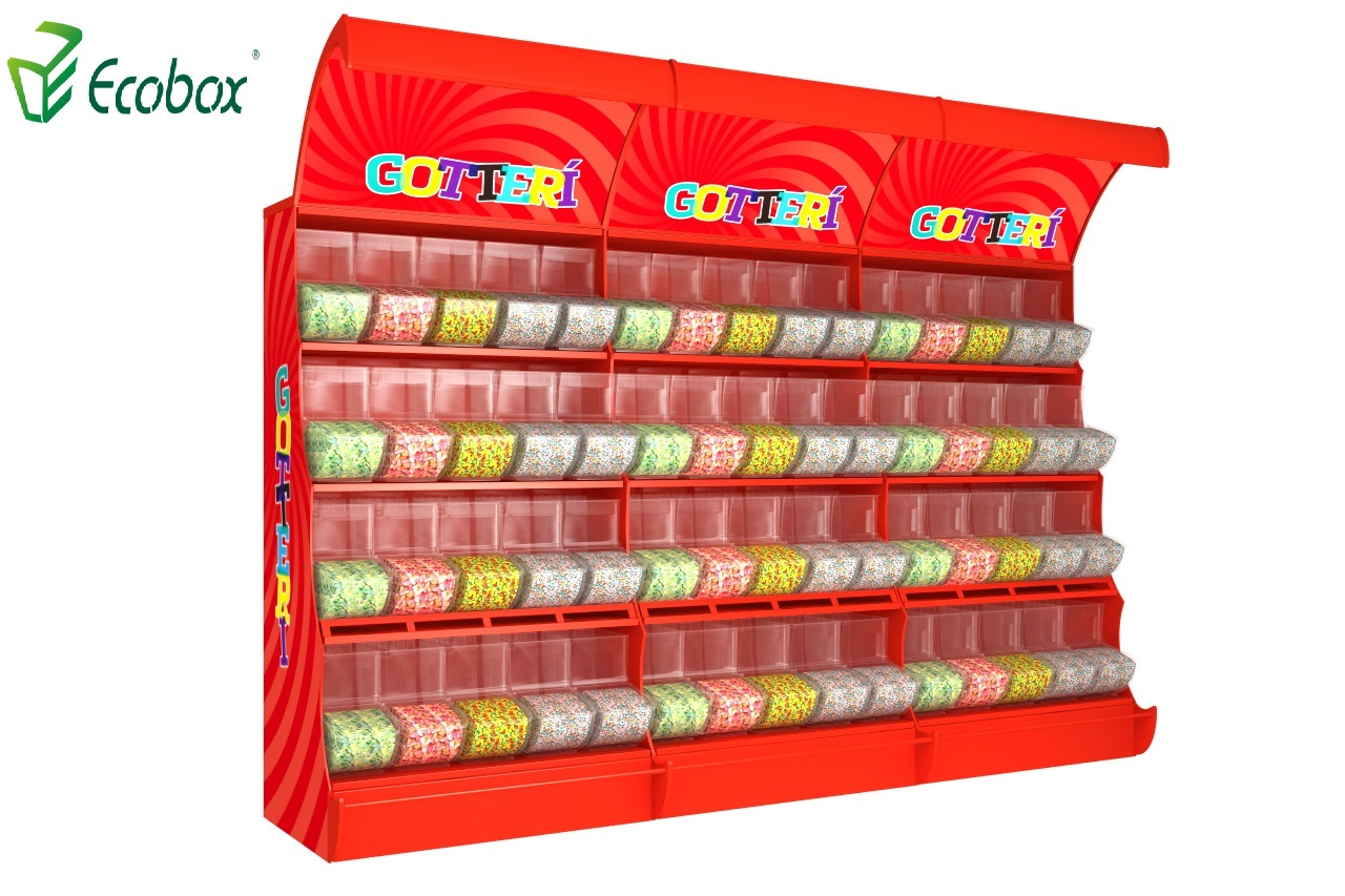 Ecobox TG-06101A metal candy stand display shelf rack with scoop bins