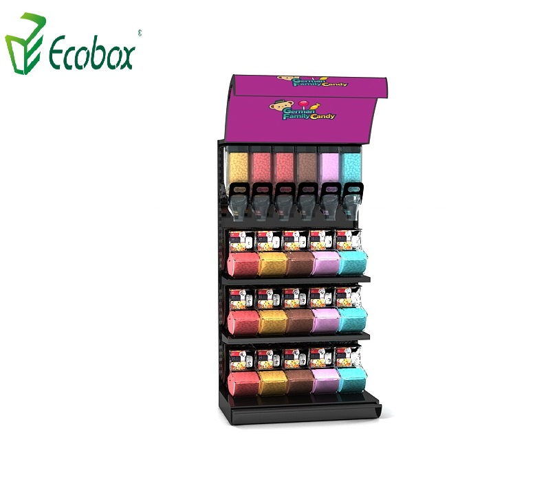 Ecobox TG-0610 grain candy rack display shelf with gravity bin and scoop bin